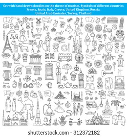 Vector set of hand drawn doodles on the theme of tourism. Symbols of different countries of Europe and Asia. Sketches for use in design, web site, packing, textile, fabric