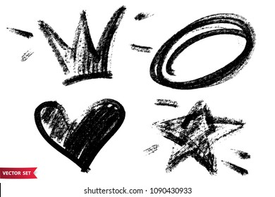 Vector set of hand drawn dry brush symbols. Black charcoal hand drawn crown, heart, star and circle images. Hand drawn icons.
