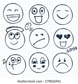 vector set of hand drawn faces, smiles, moods isolated