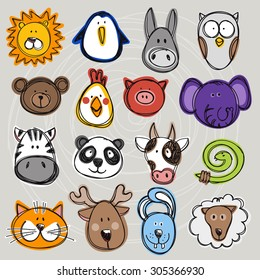 Vector set of hand drawn funny doodle animals, sketch style. Good for children's stuff, invitations, stationery.