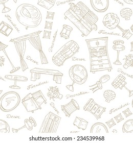 Vector set of hand drawn furniture for decoration on white background. Sketches for use in design