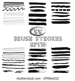 Vector set of hand drawn grunge brush strokes. Vector illustration EPS10.