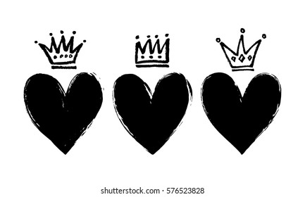 Vector set of hand drawn hearts and crowns.