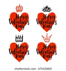 Vector set of hand drawn hearts and crowns. Happy Valentine's Day lettering.