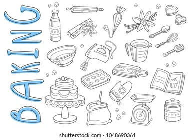 Vector set of hand drawn icons on baking theme. Cooking ingredients and kitchen utensil. Delicious cake and cookies. Doodle elements for confectionery store