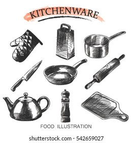 Vector set hand drawn illustration with kitchen tools. Kitchenware sketch. Retro style