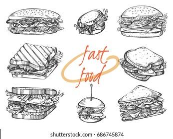 Vector set of hand drawn illustration: hot dog, sandwich and hamburger