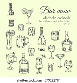 vector set hand drawn illustrations of bar menu  for cafes and restaurants. alcoholic drinks