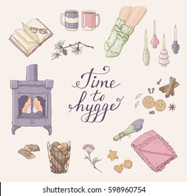 Vector set of hand drawn illustrations with Time to Hygge lettering and cozy home things like candles, socks, tea, fireplace designed in a circle. Danish living concept.