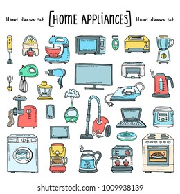 Vector set with hand drawn isolated colored doodles of home appliances and electronics on white color. Vector set on the theme of equipment. Sketches for use in design