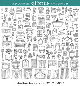 Vector set with hand drawn isolated doodles on the  theme of home on white color. Furniture, curtains, home appliances, plumbing, houseplants. Sketches for use in design