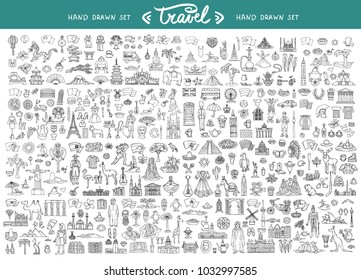 Vector set with hand drawn isolated doodles on the  theme of travel. National symbols of Asia, Europe, South and North America. Sketches for use in design
