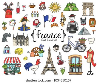Vector set with hand drawn isolated colored doodles on the  theme of France. National symbols. Sketches for use in design
