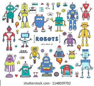 Vector set with hand drawn isolated colored doodles on the theme of robots and technology. Sketches for use in design