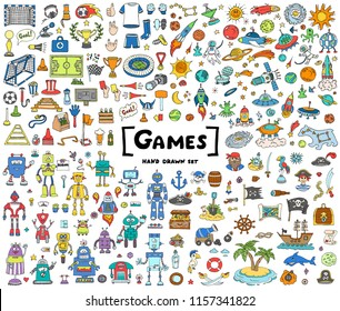 Vector set with hand drawn isolated colored doodles on the theme of games, football, space, robots and pirates. Sketches for use in design