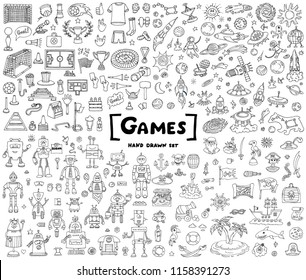 Vector set with hand drawn isolated doodles on white background. Doodles on the theme of games, football, space, robots and pirates. Sketches for use in design