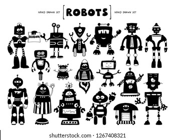 Vector set with hand drawn isolated doodles on the theme of robots and technology. Silhouettes of robots. Sketches for use in design