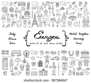 Vector set with hand drawn isolated doodles on the theme of European countries - Italy, France, Spain, United Kingdom, Germany, Greece. Tourism, travel and symbols. Sketches for use in design