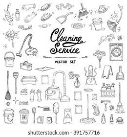 Vector set with hand drawn, isolated doodles of cleaning service on white color. Flat illustrations on the theme of cleanliness. Sketches for use in design, web site, packing, textile, fabric
