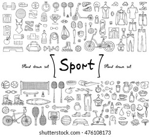 Vector set with hand drawn isolated doodles on the  theme of sport, fitness, healthy lifestyle. Illustrations of sports equipment, sportwear and food. Sketches for use in design