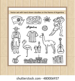 Vector set with hand drawn isolated doodles on the theme of Argentina. Symbols and attractions of Argentina. Sketches for use in design