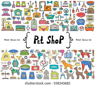 Vector set with hand drawn isolated colored doodles on the  theme of pet shop, goods for pets on white color. Sketches for use in design