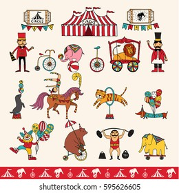 Vector set with hand drawn isolated doodles on the theme of performance. illustrations of circus symbols. Sketches for use in design, web site, packing, textile, fabric