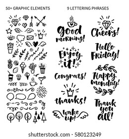 Vector set of hand drawn lettering phrase and illustrations. Modern brush calligraphy for blogs and social media. Motivation and inspiration quotes for invitations, greeting cards, prints, posters