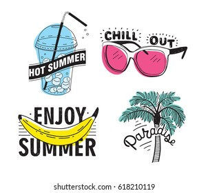 Vector set of hand drawn lettering with inscriptions: Enjoy summer, paradise, hot summer, chill out. Typographic collection with illustrations: palm, sunglasses, beverage with ice, banana.