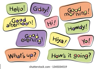 Vector set of hand drawn letters, texts, phrases. Hello, good morning, good afternoon, hi, howdy, what's up, yo, how's it going, g'day, good evening, good morning.