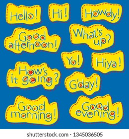 Vector set of hand drawn letters, texts, phrases. Thank you, Hello, hi, howdy, yo, hiya, g'day, good morning, day, evening, afternoon.