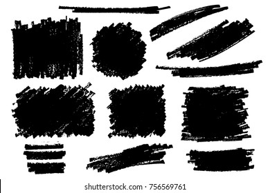 Vector set of hand drawn marker strokes and stains. One color monochrome artistic hand drawn backgrounds.