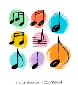 Vector set of hand drawn music notes.