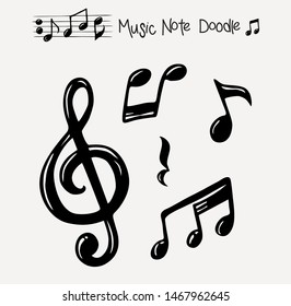 Vector set of hand drawn music notes, vector illustration
