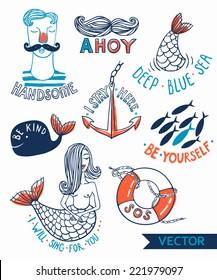vector set of hand drawn nautical emblems