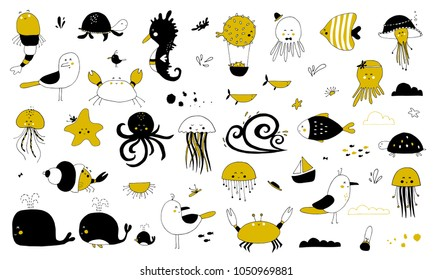 Vector set of hand drawn ocean creatures. Ocean marine world. For children fashion and stationery, nursery, scrapbooking, home decor and textile, surface design.