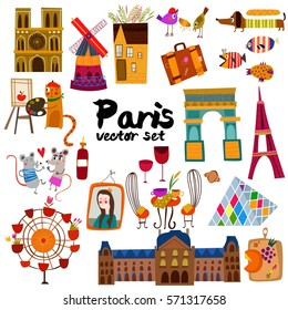 Vector set of  hand drawn Paris symbols.Retro background. - stock vector
