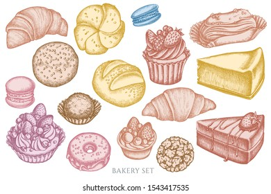 Vector set of hand drawn pastel macaron, buns and bread, croissants and bread, cheesecake, eclair, cupcake, cake, donut, cookie, truffle, cake, tartlet