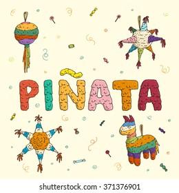 vector set of hand drawn pinatas mexican party