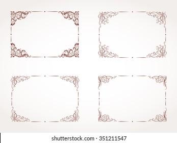 Vector set of hand drawn rectangular ornamental frame.
