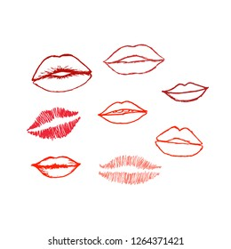 Vector set of hand drawn red lips. Hand drawn lips collection.