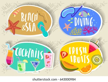 Vector set of hand drawn round colorful  summer paper stickers, labs, emblems with lettering and fruits, beach, diving, cocktails.