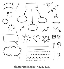 Vector set of hand drawn signs and arrows. Black on white.