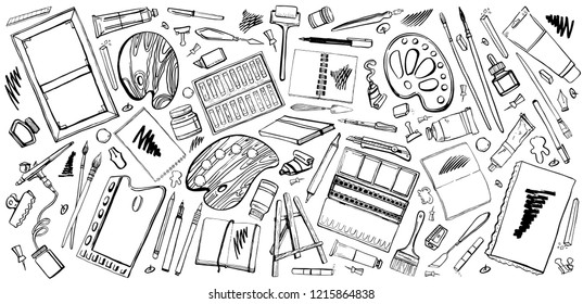 Vector set of hand drawn sketch vector artist materials. Black and white illustration with painting and drawing tools. Brushes, tubes, palettes, notepads, knives, pens and pencils