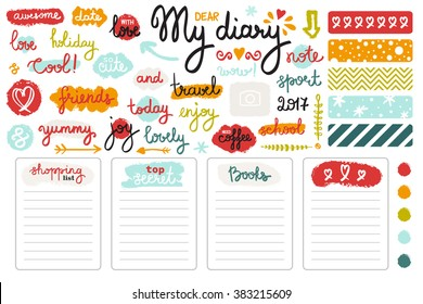 Vector set of hand drawn sketch elements and words for girl's diary. Colorful doodle style. Page templates, color pallets and lettering.