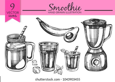 Vector set with hand drawn smoothies and blender
