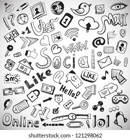 Vector set of hand drawn social doodles