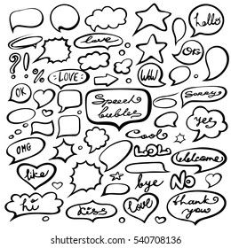 Vector set of hand drawn of speech bubbles with dialog words: hello, yes, no, love, kiss, hi.