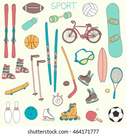 Vector set of hand drawn sport themed doodle illustrations