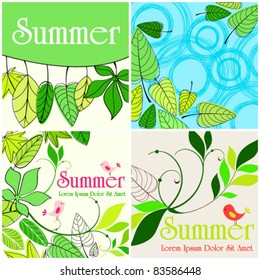Vector set of hand drawn style of cute summer illustrations